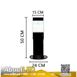โคมไฟสนามหญ้า โป๊ะแก้วหัวน็อตสีนม-B-DM